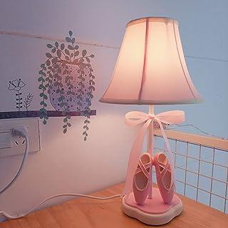 Lámpara de mesita de noche princesa rosa, paño de niña, zapatos de baile, luz de dormitorio, lámpara de escritorio de mesita de noche con pantalla de tela para el dormitorio, sala de estar, cuarto de