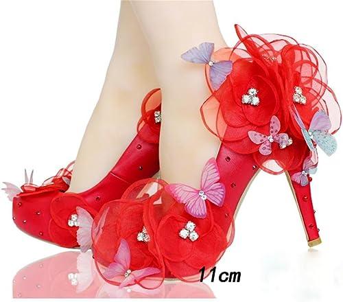 QPYC Damen Hochzeit Schuhe Erwachsene Kleid Schuhe Spitze Kristall Braut Hochzeit Schuhe Frauen Singles Schuhe Freundinnen Weiße Blaumen Schmetterling , 35 , 11cm rot