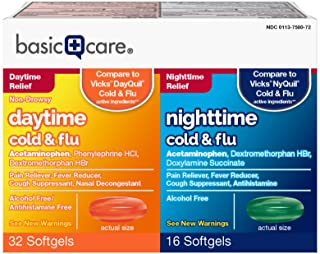 Amazon Basic Care Cold Flu Relief Multi-Symptom Daytime Nighttime Combo Pack Softgels; Cold Medicine, 48 Count