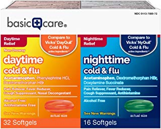 Basic Care Daytime and Nighttime Cold & Flu, 48 Count