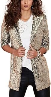 Women Sparkle Sequins Open Front Long Sleeve Blazer Jacket