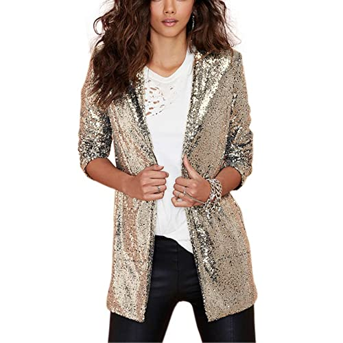 2863ed32 HaoDuoYi Women's Sparkly Sequins Pocket Side Open Front Casual Coat Jacket