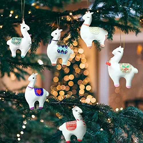 KERIQI 6pcs Christmas Hanging Decorations Handmade Llama Ornaments Alpaca Pendants, White Christmas Ornaments for Christmas Tree Decorations Holiday Xmas Gifts