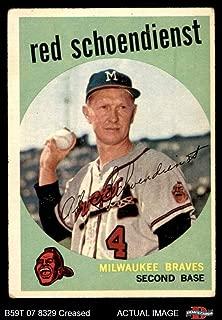 1959 Topps # 480 Red Schoendienst Milwaukee Braves (Baseball Card) Dean's Cards 3 - VG Braves