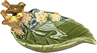 SOCOSY Ceramic Leaf-Shaped Dish with Bird,Seasoning Dish/Nut Serving Bowl /Soap Dish /Jewelry Dish/Key Holder/Ashtray Wedding Gift