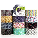 Simply Genius (12 Pack) Patterned and Colored Duct Tape Variety Pack Tape Rolls Craft Supplies for Kids Adults Patterned Duct Tape Colors, 10 Yards, 120 Yards Total, Whimsical Patterns