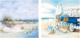 Beach Theme Summer Cocktail Napkins Paper   20 Count, 3-Ply   Set of 2, Seaside and Surfing   40 Napkins Total
