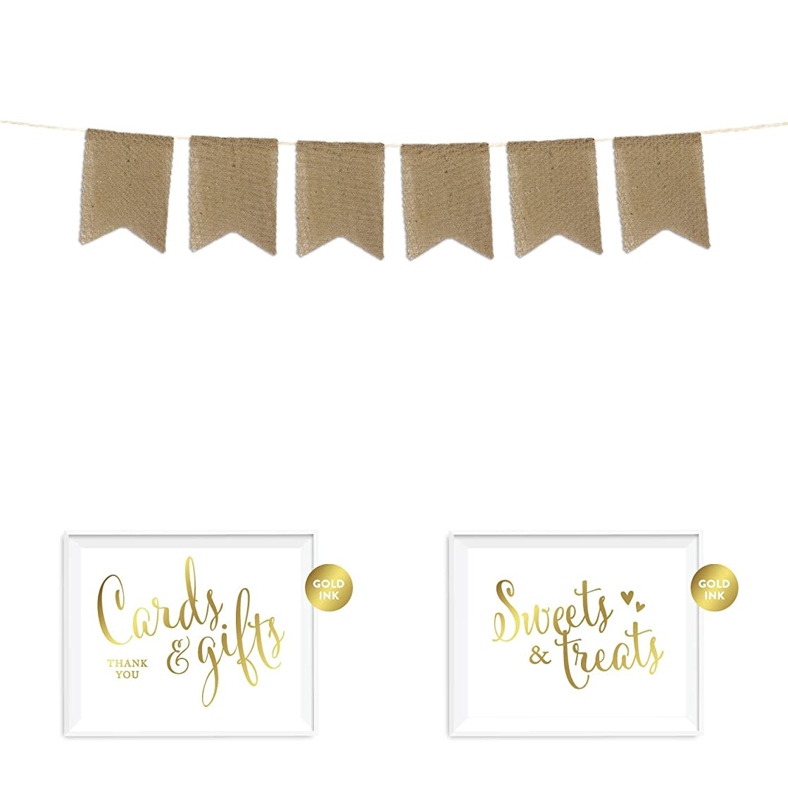 Andaz Press Real Burlap Pennant Hanging Party Banner with Gold Ink Party Signs, 15 Blank Writable Fabric Pennants, Pre-Strung, No Assembly Required, 1-Set, for DIY Personalized Custom Decorations