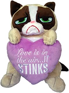 Grumpy Cat Plush with Lavender Heart Funny Valentines Day Stuffed Animal 11 inch