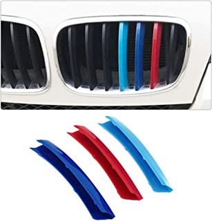Longzhimei Fit for BMW X5 E70 2008-2013 M-Colored Front Grille Insert Trim Strips Grill Cover 3Pcs (7 Grilles)
