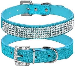 haoyueer Cute Dazzling Sparkling Leather Dog Cat Rhinestone Collar Crystal Diamond Pet Dog Puppy Collar