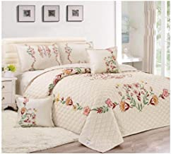 Floral Compressed 6 Piece Comforter Set, King Size, Px-003, Off White,