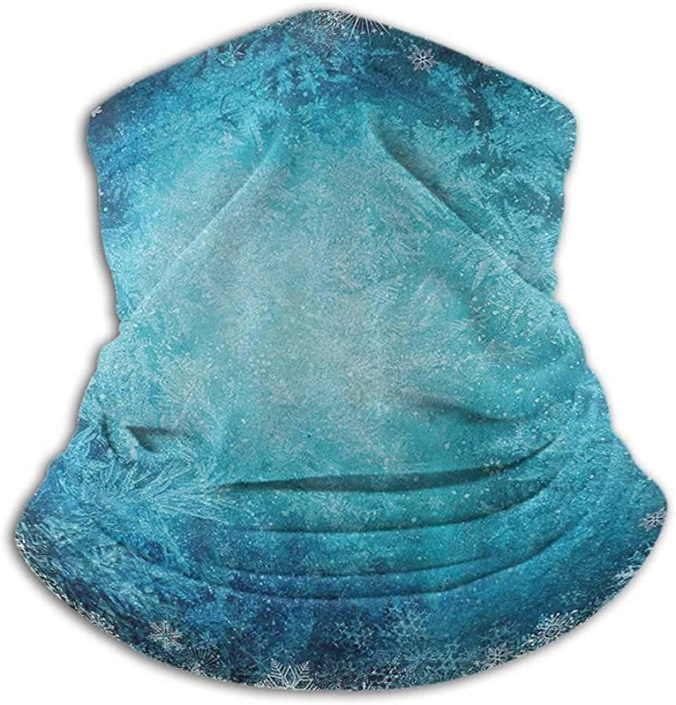 Neck Gaiters for Men Winter Decorations Unisex Anti-Dust Washable Digital Made Winter Background with Snowflake Figure in Soft Colors Theme Turquoise