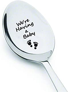 Boston Creative company LLC We are Having a Baby Spoon- we are Expecting- we are Pregnant- We're Expecting- were Expecting- Pregnancy Announcement- Pregnancy Reveal to Grandparents