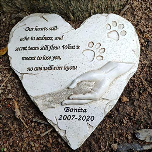 En forma de corazón Pet Memorial Piedras para perros o gatos, perros Memorial Stones personalizados lápidas, monumento de la condolencia del animal doméstico de pérdida de regalos