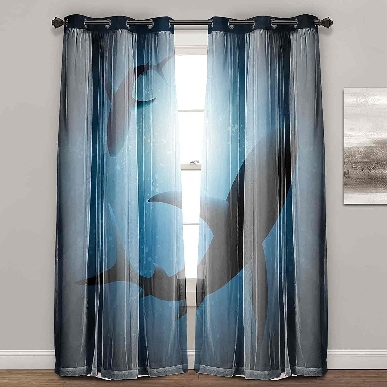 Curtains for Living Room Silhouette of T Houston Mall Swimming The at Max 81% OFF Fishes