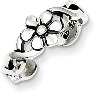 Lex & Lu Sterling Silver Antiqued Floral Toe Ring LAL22077