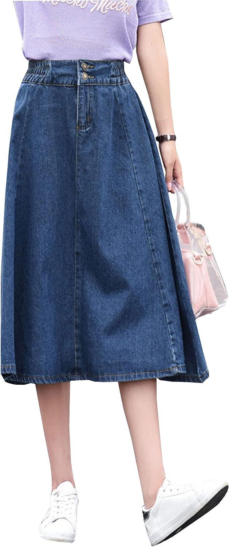 Songling Women's Casual Retro High Elastic Waist A-Line Denim Skirts Pleated Midi Jean Skirts