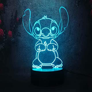 Cute Cartoon Stitch 3D Night Light 7 Colors Led Lamp USB Remote Touch Baby Room Bedroom..