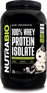 NutraBio 100% Whey Protein Isolate (Cookies and Cream, 2 Pounds)