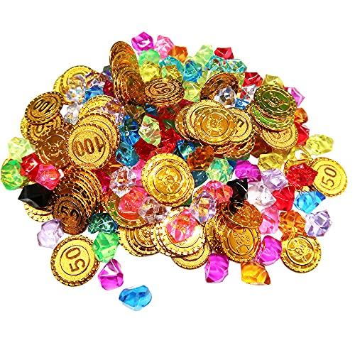 Tesoro Pirata,Búsqueda Del Tesoro,Monedas Doradas de Plástico de Pirata, Piedras Preciosas Piratas,Tesoro Pirata Niños(100 Monedas de Oro + 100 Diamantes)