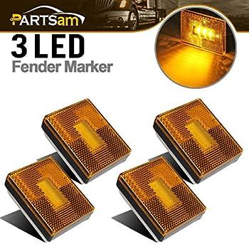 Partsam 4pcs AMBER Square Clearance Side Marker Light Trailer RV w reflex reflector 2-4/5  Rectangular amber stud-mount Led marker lights reflectorized