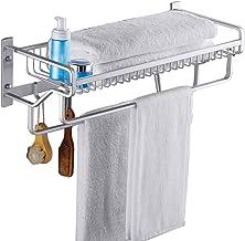 Wubing Huishoudelijke Ruimte Aluminium Punch-vrij Vouwen Wandgemonteerde Handdoekenrek Dubbele Pole 2 Laag Hanger Badkamer...