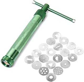 Pixnor Green Polymer Clay Gun Extruder Sculpey Sculpting Tool with 20 Interchangeable Discs
