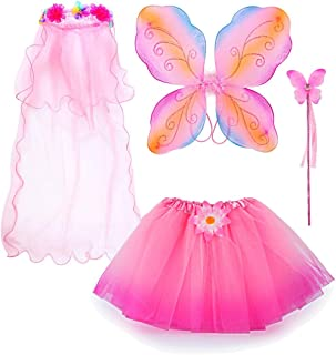 Fairy Costume, Sinuo Costume Set With Wings,Tutu,Wand and Veil Princess Set Fit Girls Age 3-8(Pink)