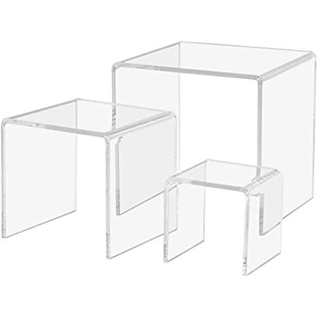 Details about  /Clear Acrylic Riser Stand Set Jewelry Collectible Showcase Display Stands Rack