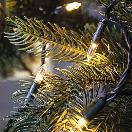 Lights4fun 150er Warmweiße LED Weihnachtsbaum Lichterkette 14,85m dunkelgrünes Kabel Fernbedienung Timer