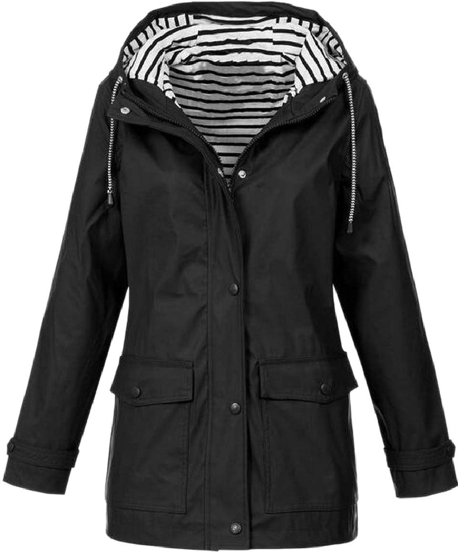maweisong 女性の暖かい屋外のポケット付き特大のジッパーフード付きのソリッドカラーコートジャケット