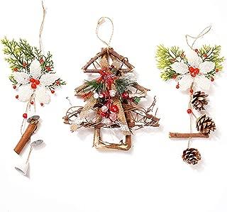 AHUA 3Pack Christmas Decorations Wreaths, DIY Handmade Rattan Christmas Tree, Christams White Snowflower Jingling Bell, Christmas Pinecone Hanging Wreaths Rattan Decoration (Wood Tree + Flower)