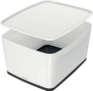 Leitz Boîte de Rangement 18 Litres avec Couvercle, Waterproof, Blanc/Noir