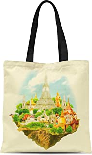 Semtomn Cotton Canvas Tote Bag Thailand Watercolor Bangkok City Thai Color Water Panoramic Reusable Shoulder Grocery Shopping Bags Handbag Printed
