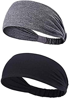 YOUBAMI Sport Athletic Headband for Yoga Running Sports Travel (2 Pack), Elastic Wicking Workout Non Slip Lightweight Mult...