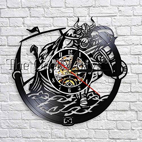 wtnhz LED-Viking decoration kids room wall clock made of vinyl records 12 inches recyclable vintage clock unique wall decoration for living room