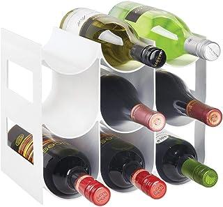 mDesign range bouteille pour vin – joli casier à bouteille en plastique sans BPA jusqu'à 9 bouteilles – porte bouteille au...
