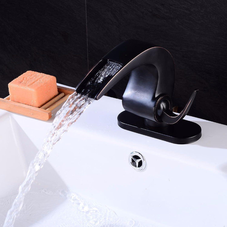 MMYNL TAPS MMYNL Waschtischarmatur Bad Mischbatterie Badarmatur Waschbecken Antik Schwarz verbogen fllt und kaltem Wasser Keramik Ventil Einloch, einseitiger Griff Badezimmer Waschtischmischer
