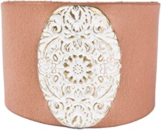 Noble Outfitters Women's Leather Floral Frenzy Cuff Bracelet