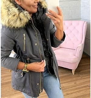 Women's Hooded Jacket Long Sleeve Zipper Trench Coat Fleece Lined Faux Fur Fuzzy Parka Jacket Winter Warm Jacket Outwear