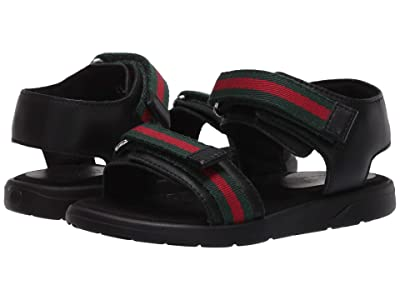 Gucci Kids Gaufrette Sandal (Toddler) (Nero/VRV) Kids Shoes