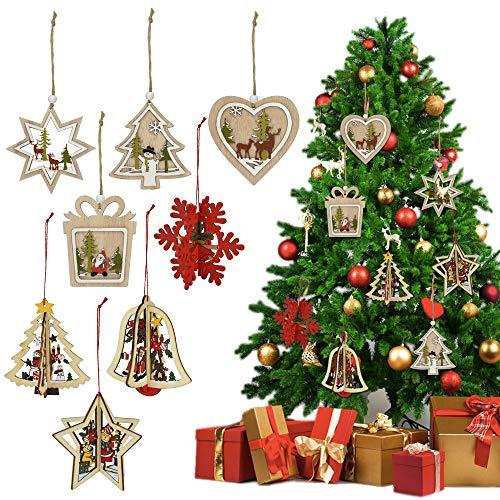 PERFETSELL 8 Pcs Decoraciones de Árbol de Navidad Colgante Adornos Arbol de Navidad Colgante Navideño de Madera 3D Originales Colgantes de Maderapara Decorar Árbol de Navidad Hechos a Mano