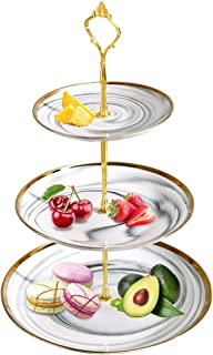 Cupcake Stand Tower Dessert Display Plate 3-Tier White Round Marble Ceramic Serving Tray Dish Treat Stacked Pastry Fruit S...