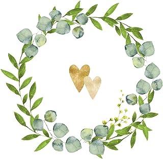20 servetten gouden harten in krans | bruiloft | tafeldecoratie 33x33cm