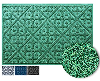 No-Shed Easy-Clean Welcome Mat | Entry Rug for Indoor and Outdoor Entryway | Shoe Scraper for Front Door Protects Floor from Dirt and Mud | Water-Proof and Anti-Slip Doormat