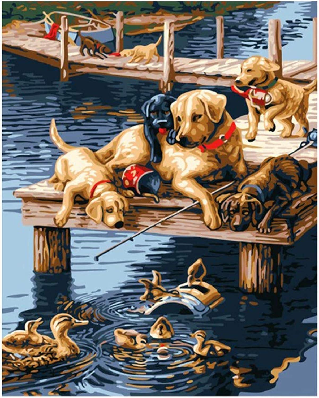 los nuevos estilos calientes CHAORENZHU Lienzo Digital DIY Animal Pintura al óleo óleo óleo por número Perros Pintura Digital  tiempo libre