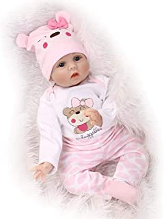 JUNMAO 22 Inch Lifelike Reborn Baby Dolls Girls Soft Silicone Cloth Body Eyes Open Look Real Newborn Baby Doll with Pink Clothes Outfits for Adoption, Kids Gift (Elder Sister, 55CM/22'')