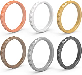 Thin Silicone Wedding Rings for Women 6-Pack Stackable Silicone Rings, Diamond Pattern – Fashion Rubber Wedding Bands
