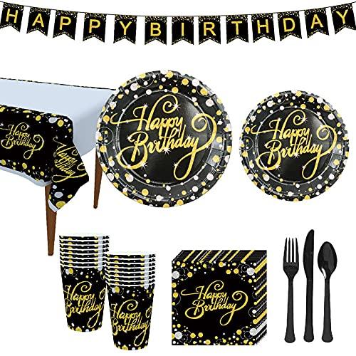 GODPAJ - Juego de vajilla de fiesta de cumpleaños, 114 piezas, vajilla desechable para 16 personas, vajilla desechable cumpleaños